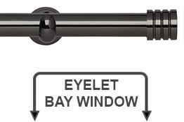 Neo 28mm Eyelet Bay Window Curtain Pole Black Nickel Stud