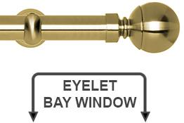 Neo 28mm Eyelet Bay Window Curtain Pole Spun Brass Ball