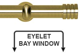 Neo 28mm Eyelet Bay Window Curtain Pole Spun Brass Stud