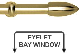 Neo 28mm Eyelet Bay Window Curtain Pole Spun Brass Bullet