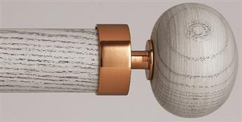 Byron & Byron Halo Washed Wood 35mm, 45mm, 55mm Curtain Pole, Chateau Grey, Orion Copper