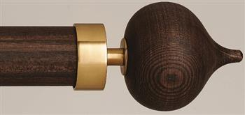 Byron & Byron Halo Washed Wood 35mm, 45mm, 55mm Curtain Pole, Toasted Oak, Stellar Brass