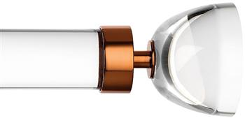 Byron & Byron Halo 35mm, 45mm Acrylic Curtain Pole, Metal Rings, Copper Luna