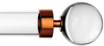 Byron & Byron Halo 35mm, 45mm, 55mm Acrylic Curtain Pole, Acrylic Rings, Copper Globus