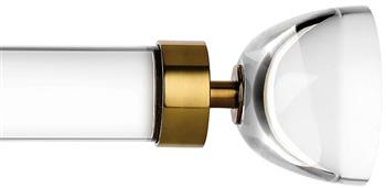 Byron & Byron Halo 35mm, 45mm Acrylic Curtain Pole, Acrylic Rings, Burnished Brass Luna