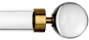 Byron & Byron Halo 35mm, 45mm, 55mm Acrylic Curtain Pole, Acrylic Rings, Burnished Brass Globus