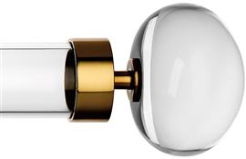 Byron & Byron Halo, 55mm Acrylic Curtain Pole, Acrylic Rings, Burnished Brass Orion