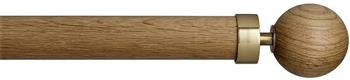 Byron & Byron Halo Washed Wood 35mm, 45mm, 55mm Curtain Pole, English Oak, Globus Brass