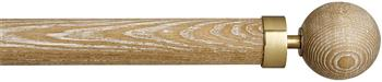 Byron & Byron Halo Washed Wood 35mm, 45mm, 55mm Curtain Pole, Limed Oak, Globus Brass