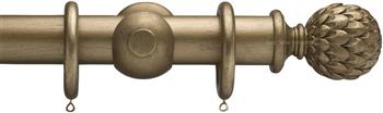 Advent 35mm Metallic Painted Wood Curtain Pole, Antique Gold, Artichoke