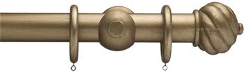 Advent 35mm Metallic Painted Wood Curtain Pole, Antique Gold, Spiral Ball