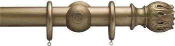 Advent 47mm Metallic Painted Wood Curtain Pole, Antique Gold, Waterlily