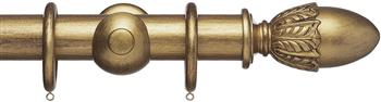 Advent 47mm Metallic Painted Wood Curtain Pole, Antique Gold, Acorn