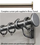 Bradley 38mm Steel Curtain Pole, Brass Toned, Large Stud