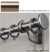 Bradley 38mm Steel Curtain Pole, Polished Copper Tint, Large Stud