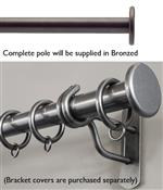 Bradley 38mm Steel Curtain Pole, Bronzed, Large Stud