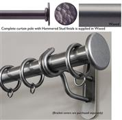 Bradley 38mm Steel Curtain Pole, Waxed, Hammered Stud
