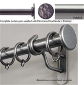 Bradley 38mm Steel Curtain Pole, Polished, Hammered Stud