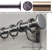 Bradley 38mm Steel Curtain Pole, Polished Copper Tint, Hammered Stud