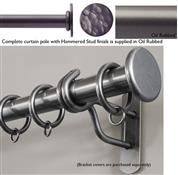 Bradley 38mm Steel Curtain Pole, Oil Rubbed, Hammered Stud