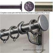 Bradley 50mm Steel Curtain Pole, Brass Toned, Hammered Stud