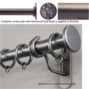 Bradley 50mm Steel Curtain Pole, Bronzed, Hammered Stud