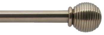 Bradley 19mm Steel Curtain Pole, Brass Toned, Ribbed Ball & Collar