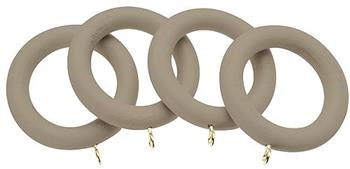 Universal 35mm Wood Curtain Pole Rings, Taupe