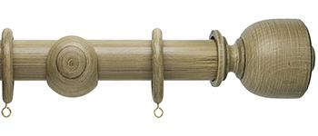 Origins 35mm Wood Curtain Pole, Shale, Tulip Urn Finial