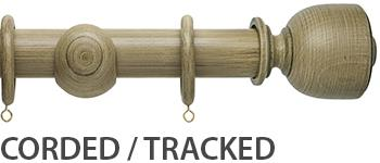 Origins 45mm Corded/Tracked Wood Curtain Pole, Shale, Tulip Urn Finial