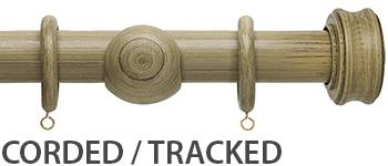 Origins 45mm Corded/Tracked Wood Curtain Pole, Shale, Disc Finial