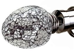 Speedy Poles Apart 35mm Alexia Silver Mirror Finials, Polished Graphite