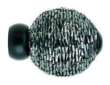 Swish 28mm Black Beaded Ball Finial, Black