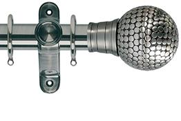 Galleria 35mm Brushed Silver Curtain Pole, Large Flat Stud Finial