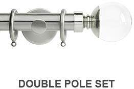 Neo Premium 19mm/28mm Double Curtain Pole Stainless Steel Clear Ball