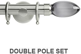 Neo Premium 19mm/28mm Double Curtain Pole Stainless Steel Smoke Grey Teardrop