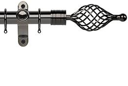 Galleria Metals 35mm Curtain Pole, Black Nickel, Twisted Cage