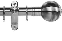 Galleria Metals 35mm Curtain Pole, Brushed Silver, Ribbed Ball