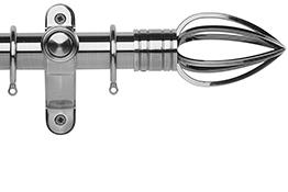 Galleria Metals 35mm Curtain Pole, Brushed Silver, Caged Spear