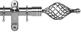Galleria Metals 35mm Curtain Pole, Brushed Silver, Twisted Cage