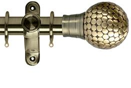 Galleria 35mm Burnished Brass Curtain Pole, Large Flat Stud Finial