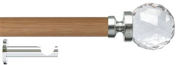 Jones Lunar 28mm Eyelet Curtain Pole Oak & Chrome, Clear Faceted Glass