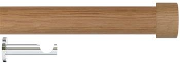 Jones Lunar 28mm Eyelet Curtain Pole Oak & Chrome, Oak Endcap
