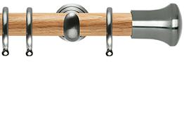 Neo 28mm Oak Wood Curtain Pole, Stainless Steel Cup, Trumpet