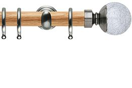 Neo 28mm Oak Wood Curtain Pole, Stainless Steel Cup, Crackled Glass Ball