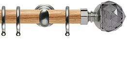 Neo 28mm Oak Wood Curtain Pole, Stainless Steel Cup, Smoke Grey Faceted Ball