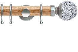 Neo 35mm Oak Wood Curtain Pole, Stainless Steel, Jewelled Ball