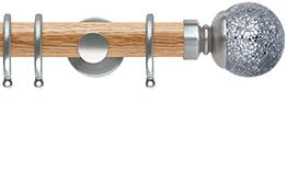 Neo 35mm Oak Wood Curtain Pole, Stainless Steel, Mosaic Ball