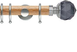 Neo 35mm Oak Wood Curtain Pole, Stainless Steel, Smoke Grey Faceted Ball