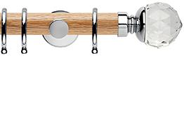 Neo 35mm Oak Wood Curtain Pole, Chrome, Clear Faceted Ball